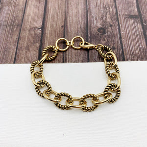 Cable Bracelet Collection :: Allison Textured Links Gold