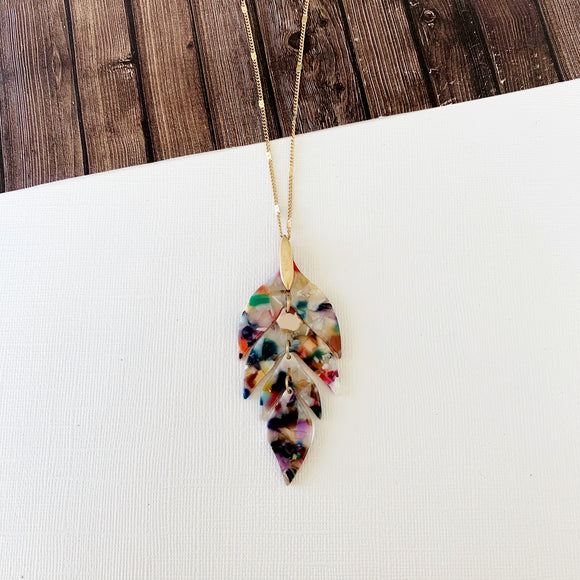 Spring Refresh Necklace Collection :: Priscilla Watercolor Leaf Dagger Pendant
