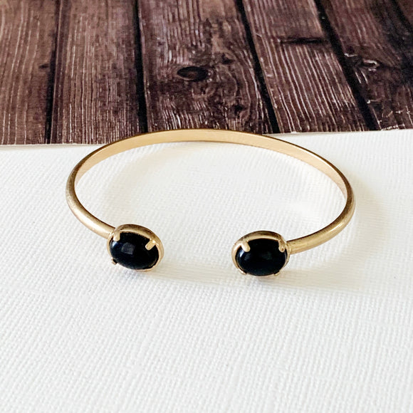 Boutique Bracelet Collection :: Brianna Onyx Cuff Bracelets