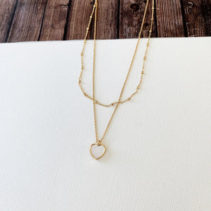 Baubles & Bits Boutique Collection :: Layered Look White Opal Heart Necklace