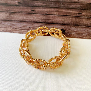 Cable Bracelet Collection :: Emerie Gold Textured Link Stretch Bracelet