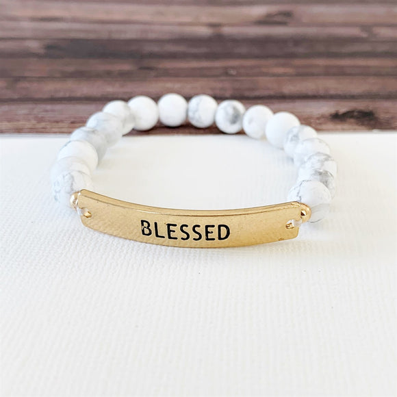 Boutique Bracelet Collection :: Blessed Natural Stone - Howlite