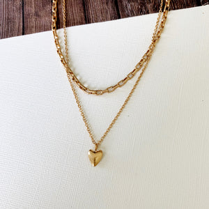 Baubles & Bits Boutique :: Baylee Heart Layered Necklace - Gold