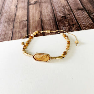 Natural Stone Slider Bracelet Collection ::  Tigerstone Gold Marquee