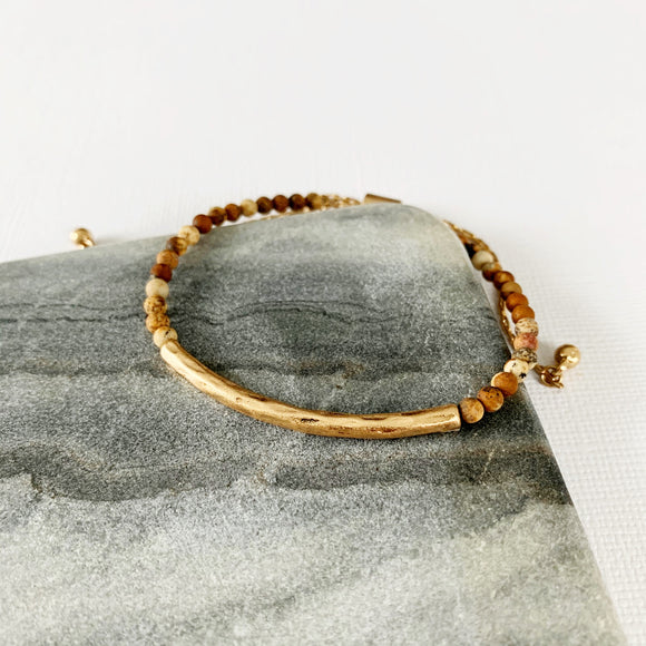 Natural Stone Slider Bracelet Collection :: Tigerstone Gold Bar