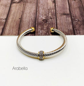 Cable Bracelet Collection :: Arabella Paved Center Cable