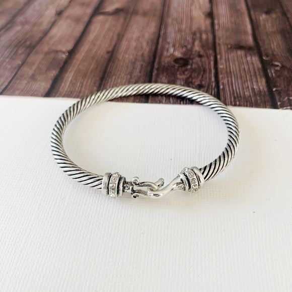 Cable Bracelet Collection :: Fern Silver Pave Hoop Clasp