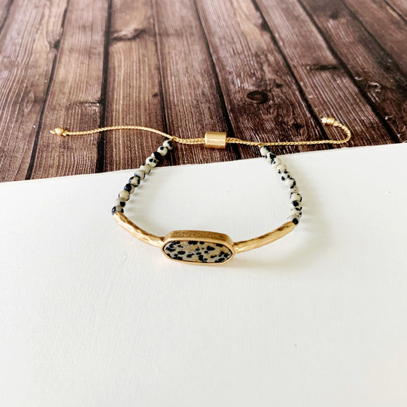 Natural Stone Slider Bracelet Collection ::  Dalmatian Stone Gold Marquee