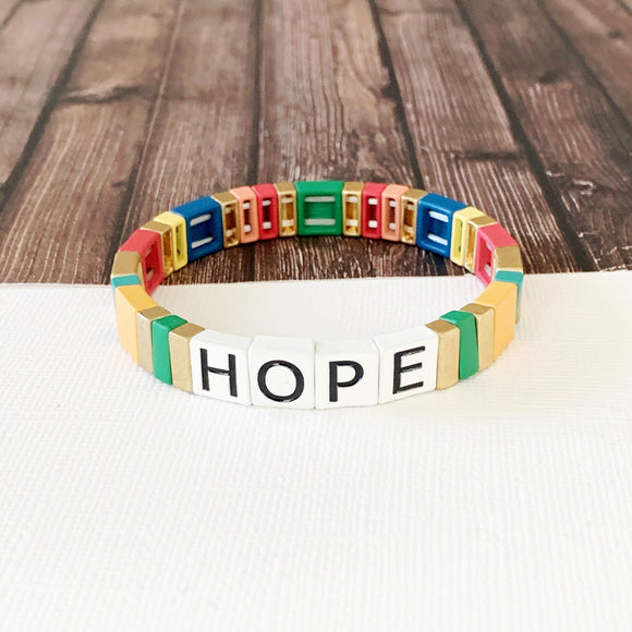 Boutique Bracelet Collection :: Hope Tile Bracelet Multi