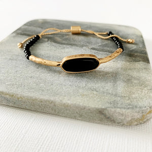Natural Stone Slider Bracelet Collection :: Onyx Marquee