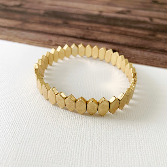 Boutique Bracelet Collection :: Raelynn Gold Marquee Tile Bracelet