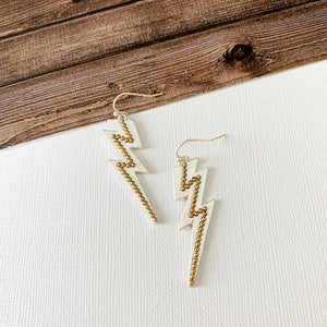 Mixed Metals Earring Collection :: Silver Lightning Bolts