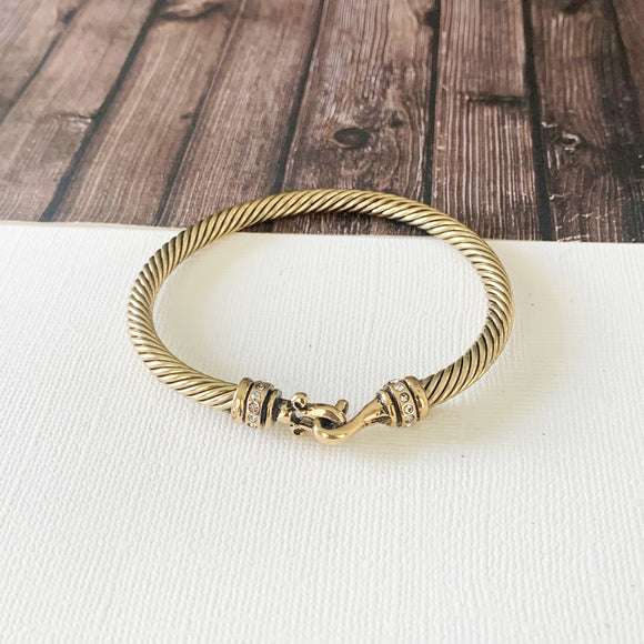 Cable Bracelet Collection :: Fern Gold Pave Hoop Clasp