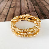 Boutique Bracelet Collection :: Brylee Matte Gold Stacked Ball Bracelets