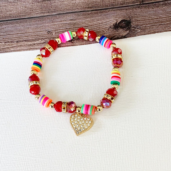 Beach Bracelet Collection :: Macy Ruby Fimo Clay Bead Bracelet with Paved Heart Dangle