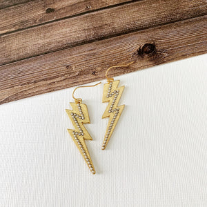 Mixed Metals Earring Collection :: Gold Lightning Bolts