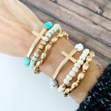 Boutique Bracelet Collection :: Marilyn Natural Sideways Cross Trio - Howlite