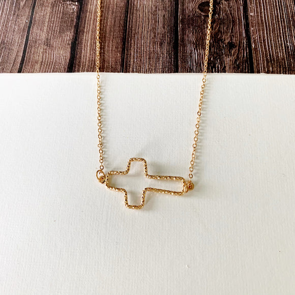 Baubles & Bits Boutique :: Kayla Open Sideways Cross Necklace - Gold