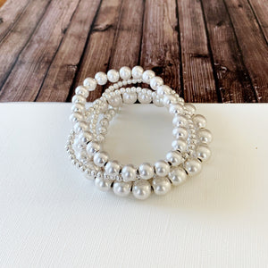 Boutique Bracelet Collection :: Nora Matte Silver Stacked Ball Bracelets