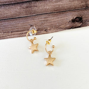 Hoopla Hoop Earring Collection :: Mallory Gold Star Dangle Petite Hoops