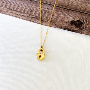 Baubles & Bits Boutique :: Vivian Heart Lock Necklace - Gold
