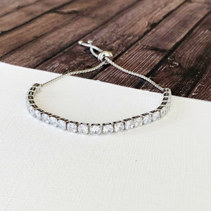 Boutique Bracelet Collection :: Cathy Pave Silver Tennis Slider Bracelet