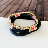 Beach Bracelet Collection :: Emilia Black Stacking Bracelets