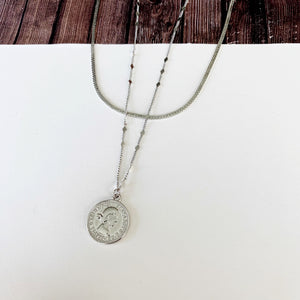 Layered Look Necklaces :: Amaya Coin with Herringbone Chain - Silver