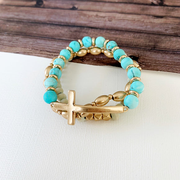 Boutique Bracelet Collection :: Marilyn Natural Stone Sideways Cross Trio - Turquoise