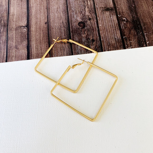 Hoopla Hoop Earring Collection :: Vally Gold Square Hoop Earrings