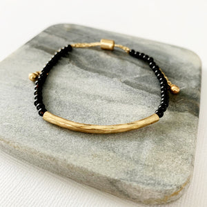Natural Stone Slider Bracelet Collection :: Onyx Gold Bar