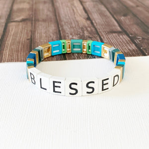 Boutique Bracelet Collection :: Blessed Tile Bracelet Blue Multi