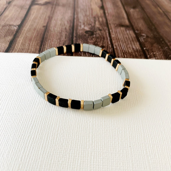 Boutique Bracelet Collection :: Vivian Grey & Black Tile Bracelet