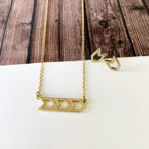 Baubles & Bits Boutique :: Sara Chevron Necklace & Earring Set - Gold