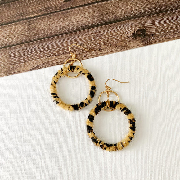 Stay Wild Earring Collection :: Leopard Wrapped Drop Hoops