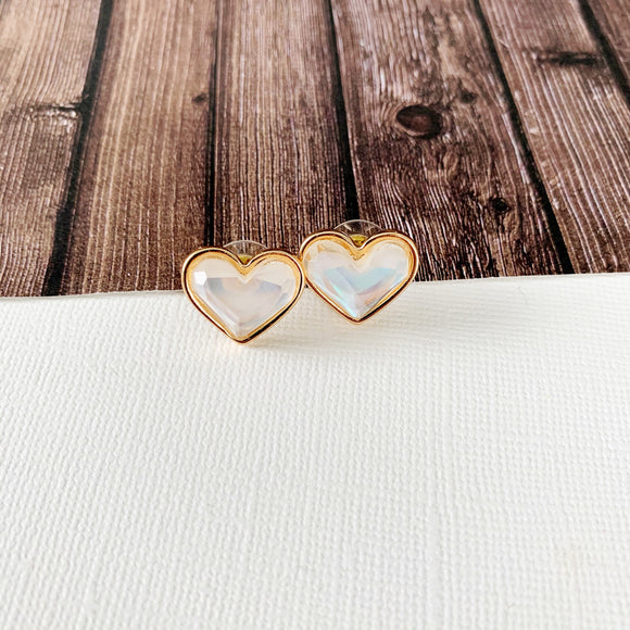 Stay Wild Postback Earring Collection :: Gold Opal Heart Post-backs