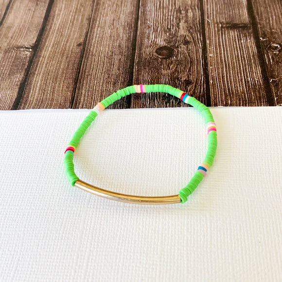 Beach Bracelet Collection :: Ava Lime Green Gold Bar Bracelet