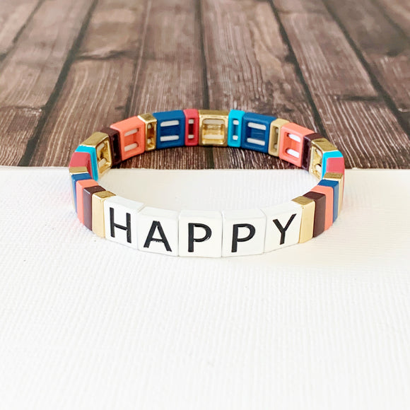 Boutique Bracelet Collection :: Happy Tile Bracelet Multi