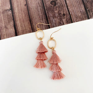 Rosy Outlook Earring Collection :: Blush Mini Tassel Drops