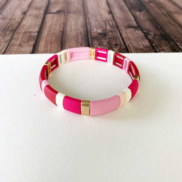 Boutique Bracelet Collection :: Penelope Pink Tile Bracelet