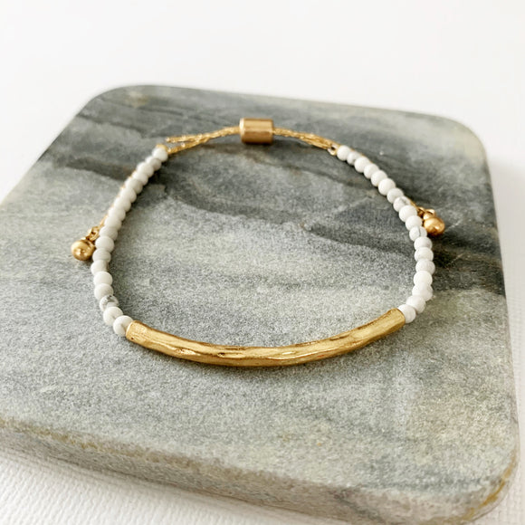 Natural Stone Slider Bracelet Collection :: Howlite Gold Bar