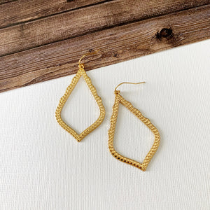 Mixed Metals Earring Collection :: Celine Gold Open Teardrops