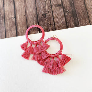 Baubles & Bits Boutique :: Kinsley Rose Hooped Tassel Drops