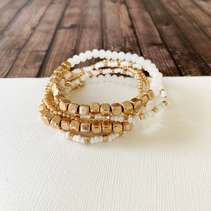 Boutique Bracelet Collection :: Frankela 6pc Set - White & Gold Ball Bracelet Set