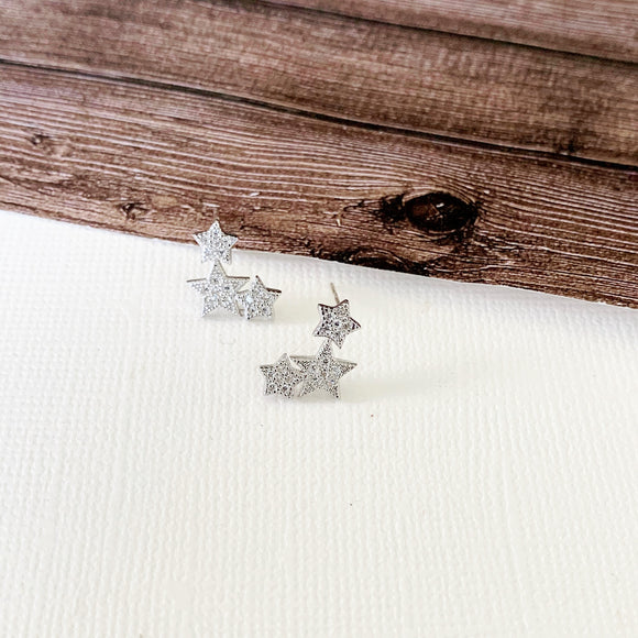 Baubles & Bits Boutique :: Eloise Silver Pave Star Trio Post-backs