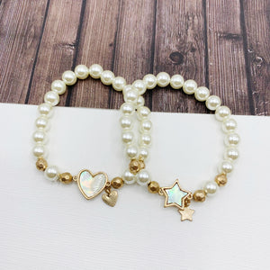 Boutique Bracelet Collection :: Imani Mother of Pearl Stretch Bracelet - Heart or Star