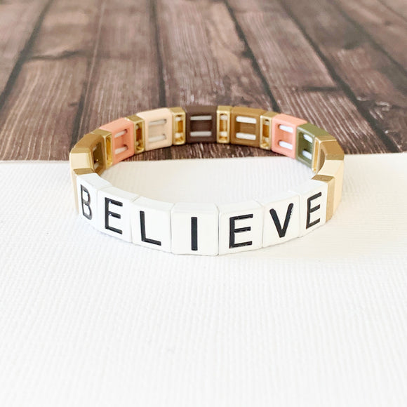 Boutique Bracelet Collection :: Believe Natural Tile Bracelet Multi
