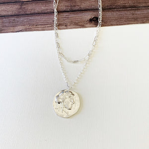 Layered Look Necklaces :: Milani Coin - Silver