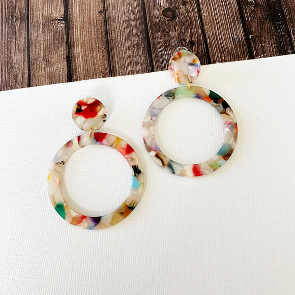 Watercolor Earring Collection :: Iris Lucite Round Hoop Statement Drops