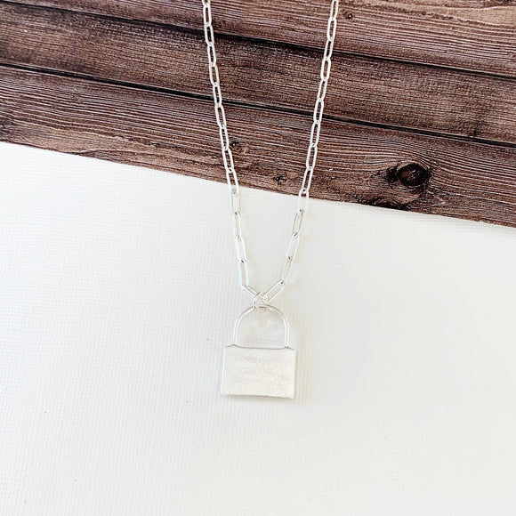 Baubles & Bits Boutique :: Hallie Lock Necklace - Silver